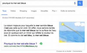 """Answer box « Pourquoi la mer est bleue"""""""