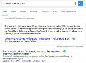 "Answer box : ""Comment jouer au poker"""