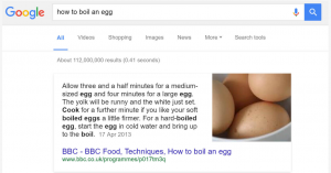 "Answer box ""How to boil and egg"""
